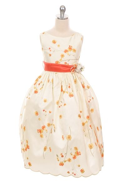 3c713231f71f Prnge Flower Girl Dress with Ivory Contrast in 2019 | Orange Flower ...