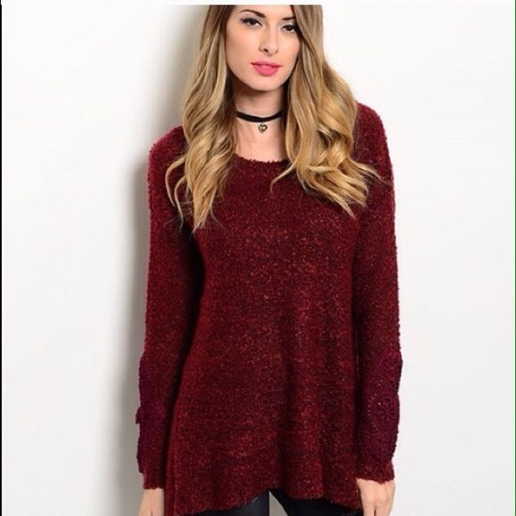 "⬇️Reduced Burgundy Sweater  Beautiful, warm, cuddly ""hug me"" sweater:) 70% Acrylic 30% Polyester. Available in S/M and M/L. S/M bust: 40"". M/L busy: 42"". Comment below for personal listing with your size. trades  PP. Reasonable offers always welcome  Sweaters"