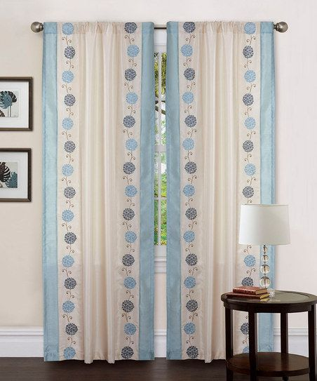 So Cute And Old Fashioned Looking Beige Blue Annabelle Curtain