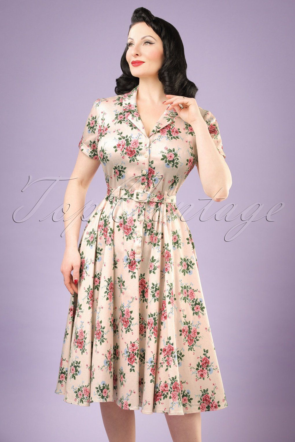b93615fa811cc Retro Style Dresses 40s Caterina Floral Swing Dress in Beige £69.26 AT  vintagedancer.com