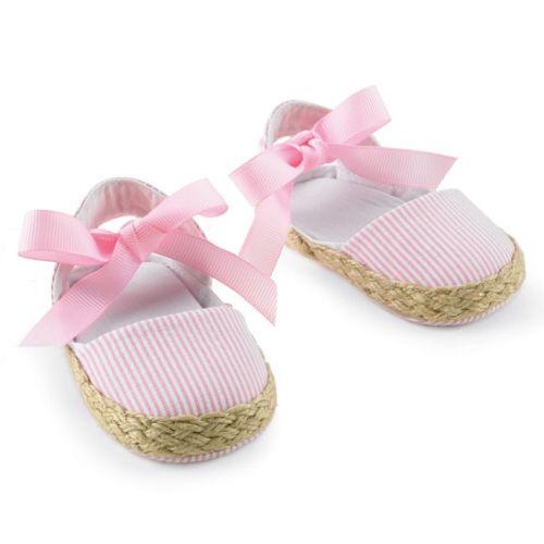 Baby Pink Seersucker Espadrilles   www.SpecialBabyShowerGifts.com