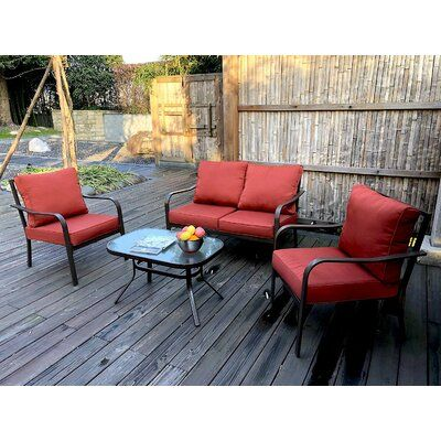 ebern designs jarry 4 piece outdoor conversation set with cushions rh pinterest com