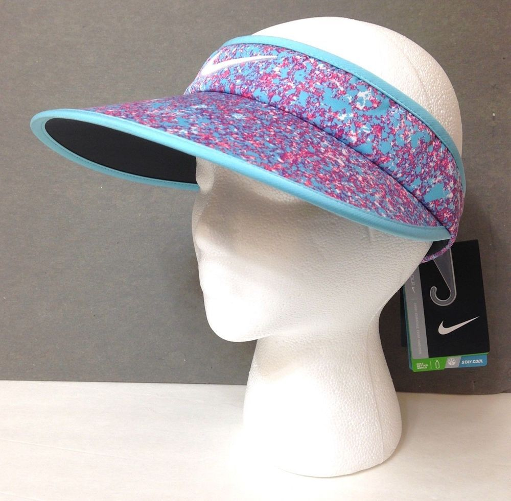 fa4f5ead9f9  26 Womens NIKE GOLF WIDE BRIM VISOR Dry Fit Golf Sun Hat Cyan Blue Purple  Pink  Nike  Visor  Golf