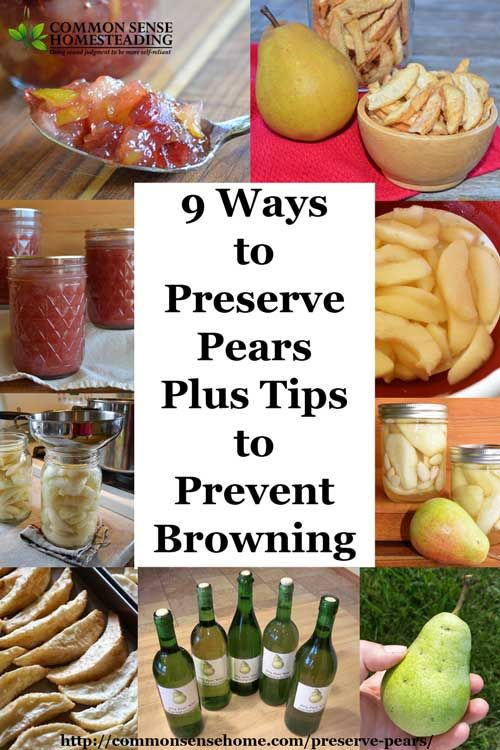 9 Ways To Preserve Pears Plus Tips To Prevent Browning Canning Recipes Food Canned Pears