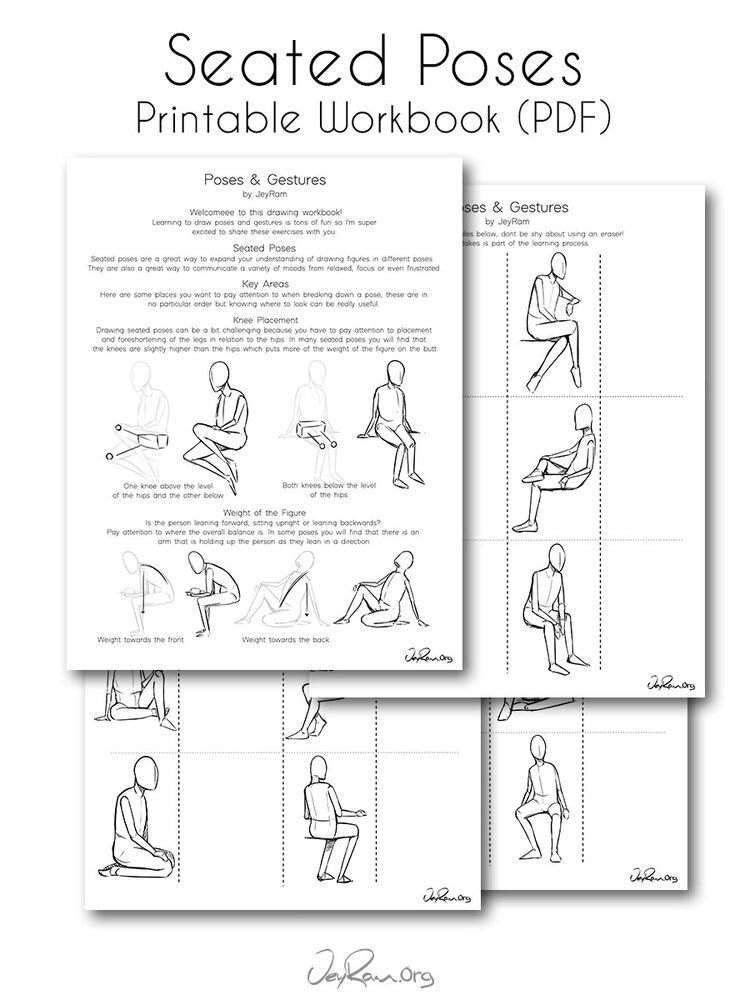Seated Poses (PDF) — JeyRam Art in 2020 | Drawing ...