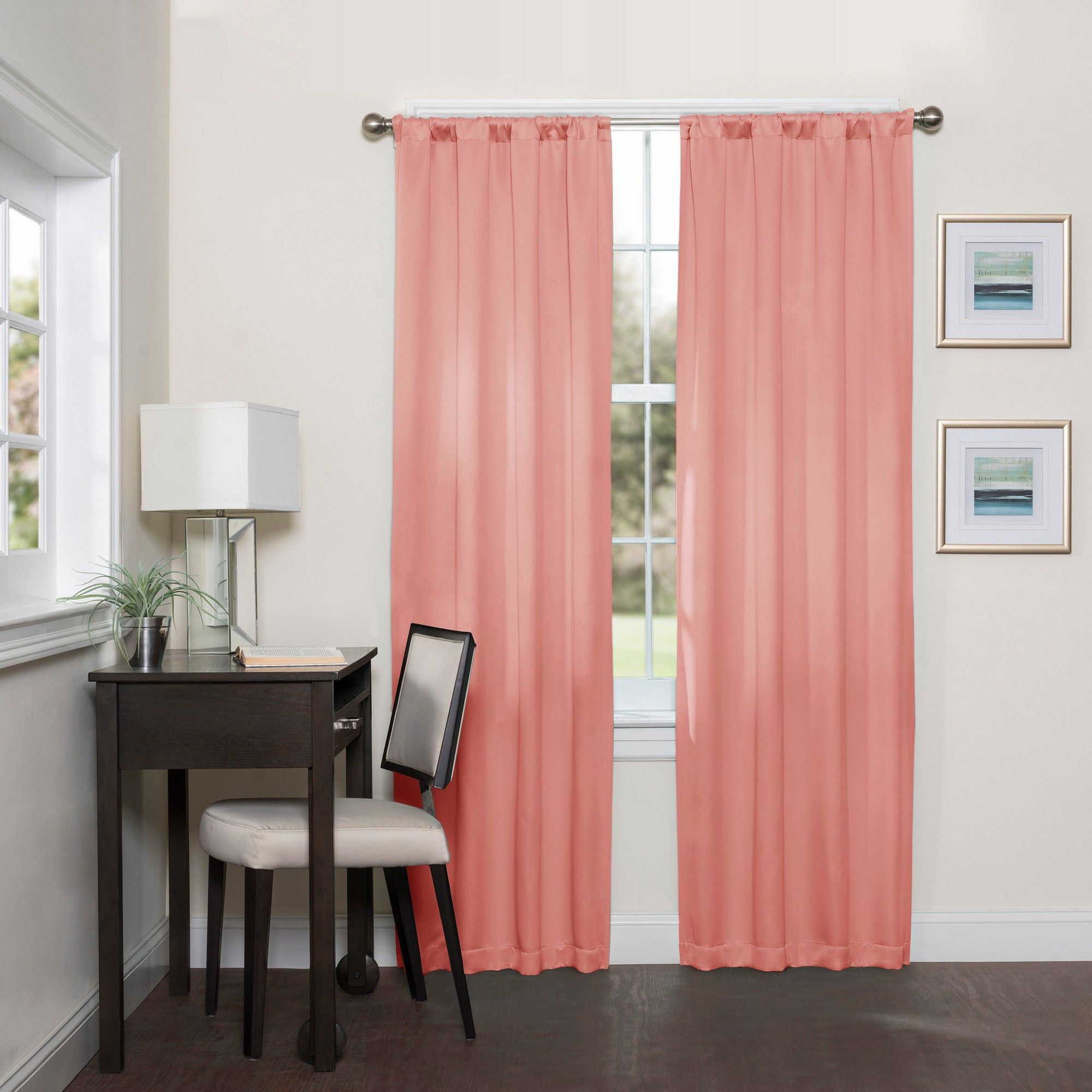 Darrell Thermaweave Blackout Curtain Coral Solid 37x95 Eclipse