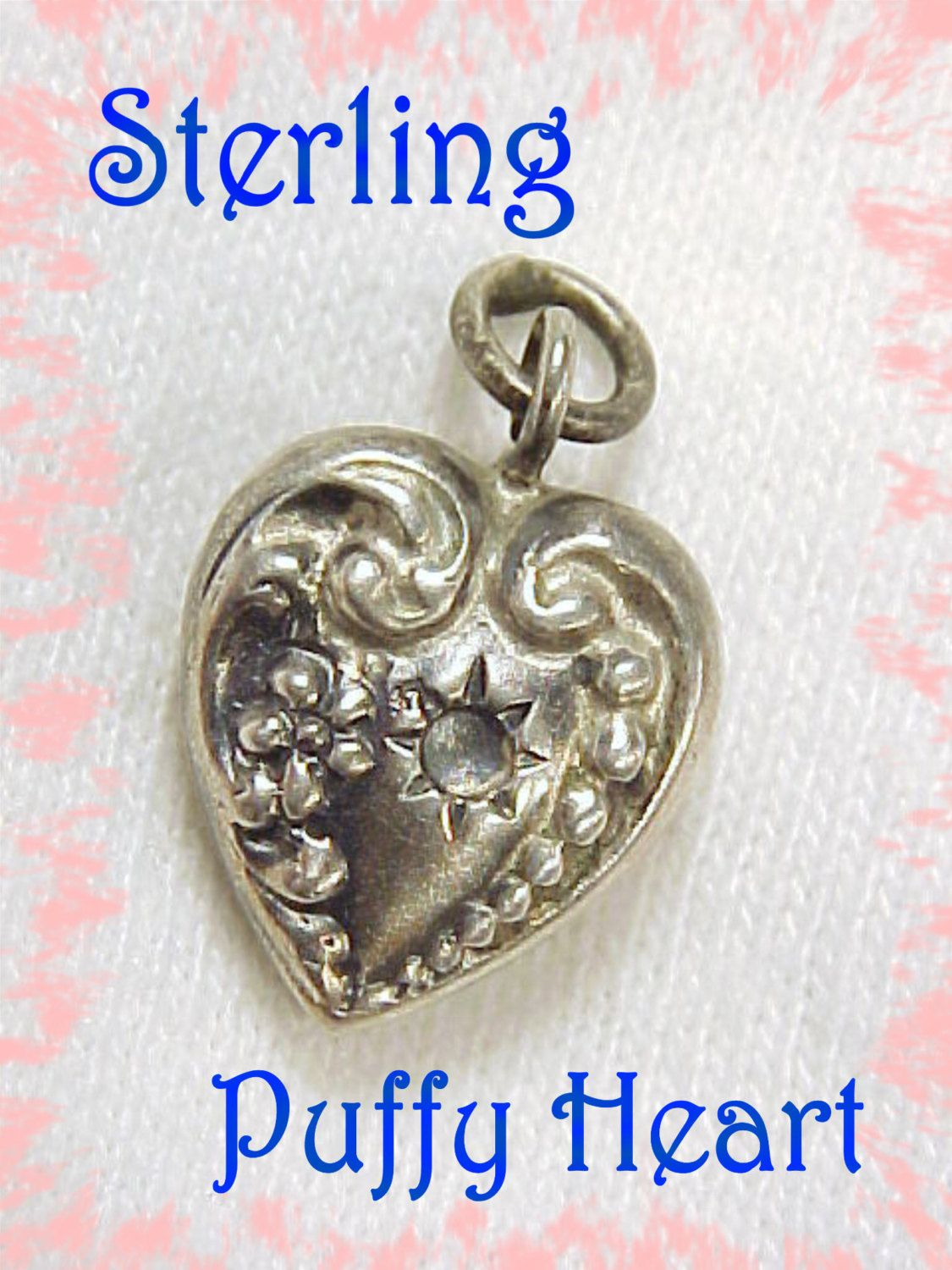Puffy Heart ~ Sterling Silver Repousse Swirl Design Puffy Heart Charm For Bracelet - Early 1900s ~ PA Estate Antique - FREE SHIPPING