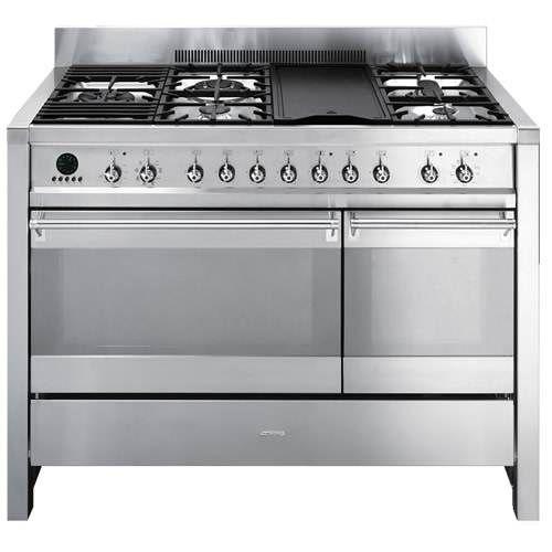 Smeg 48 Freestanding Dual Fuel Range With 5 Sealed Burners Electric Grill Cu True European Convection Oven Secondary Multifunction Static And