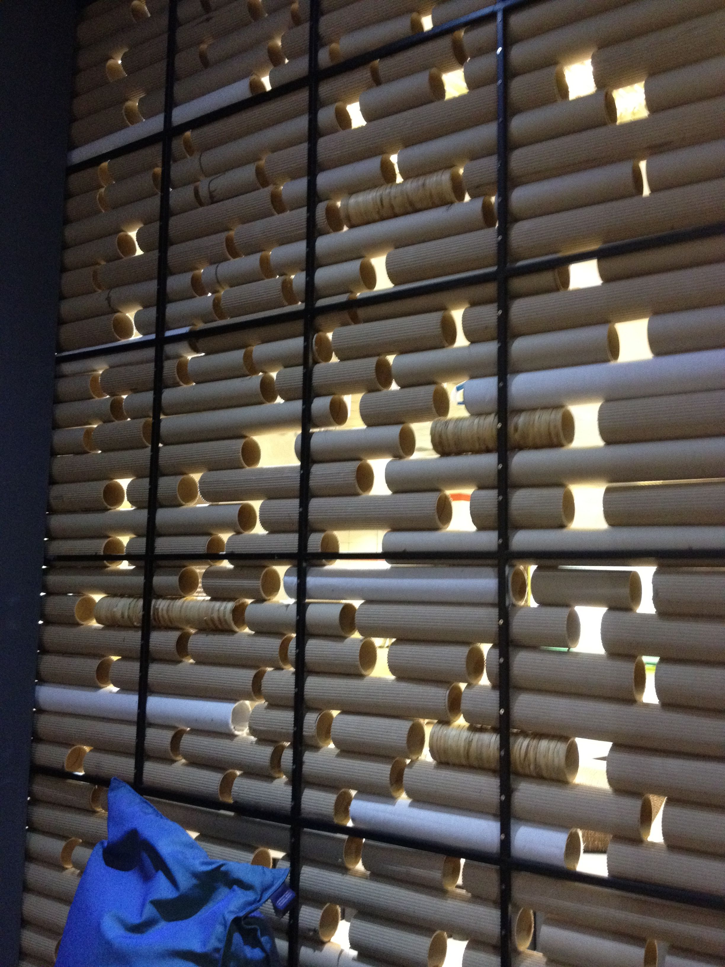 Cardboard tube wall Great idea for a