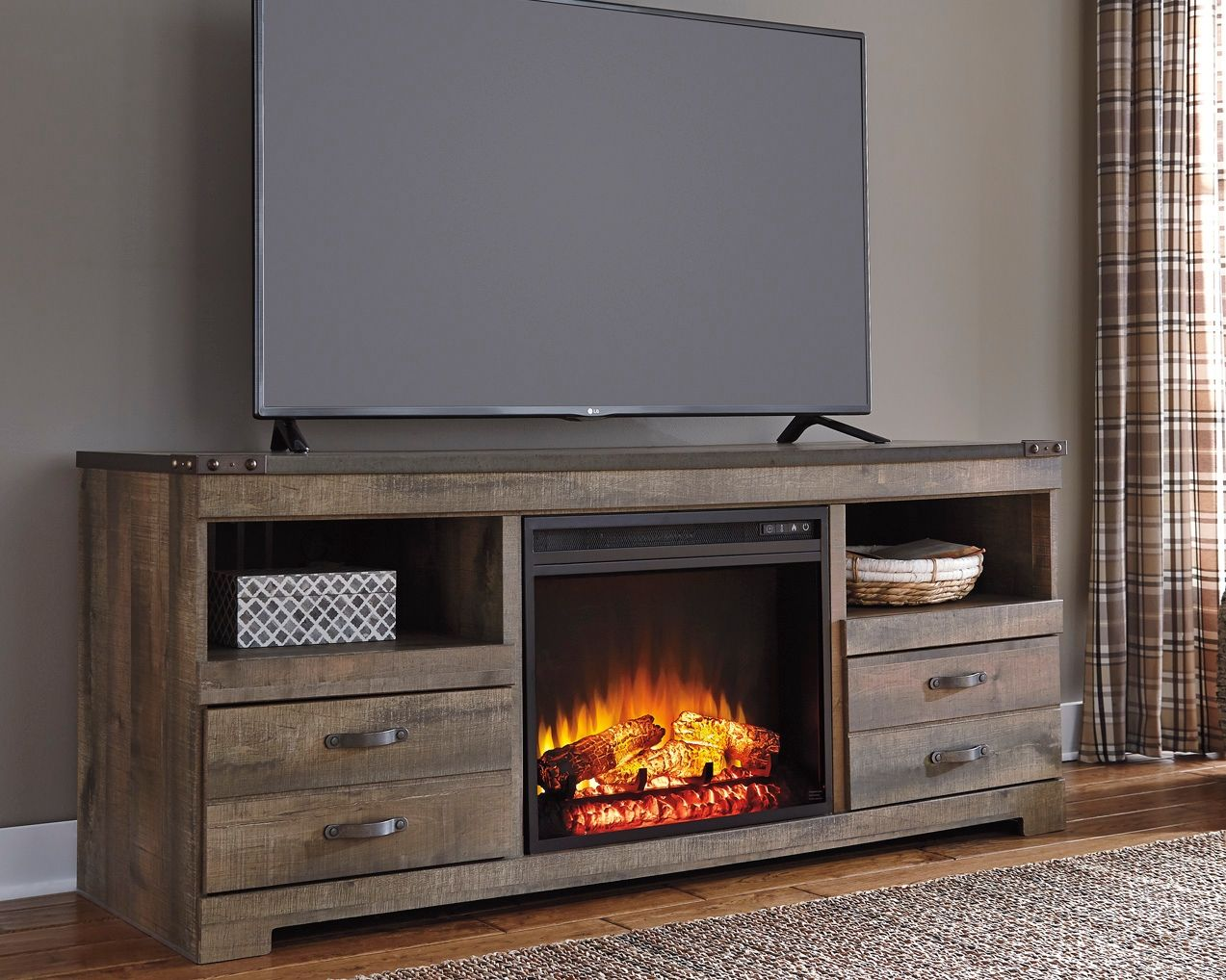 trinell tv stand with fireplace brown products in 2019 rh pinterest com