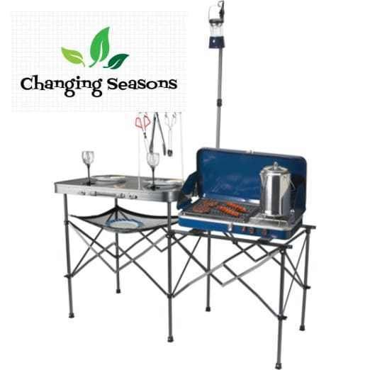 Portable Camp Kitchen Table With Lantern Pole And Side Stove Table ...