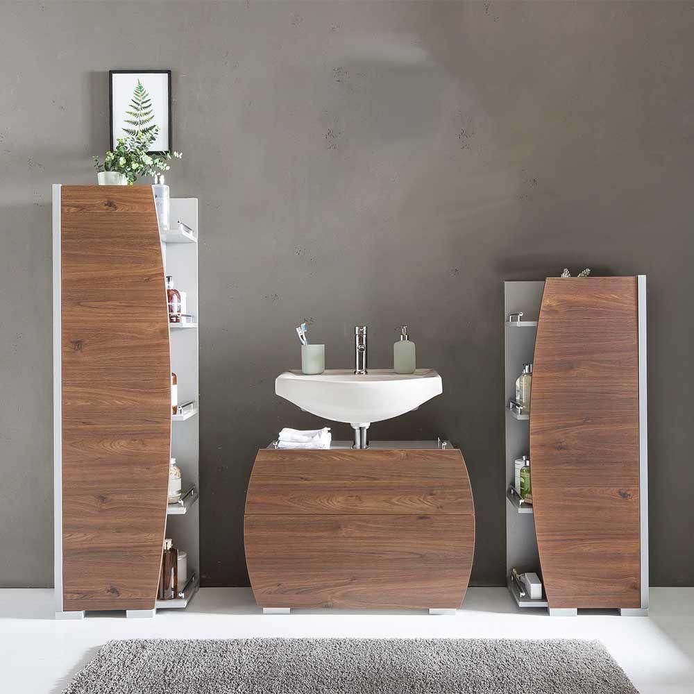 Design Badezimmermobel In Grau Und Nussbaum Dekor Made In Germany 3 Teilig Moebel Suchmaschine Ladendirekt De Badezimmer Set Bad Set Design