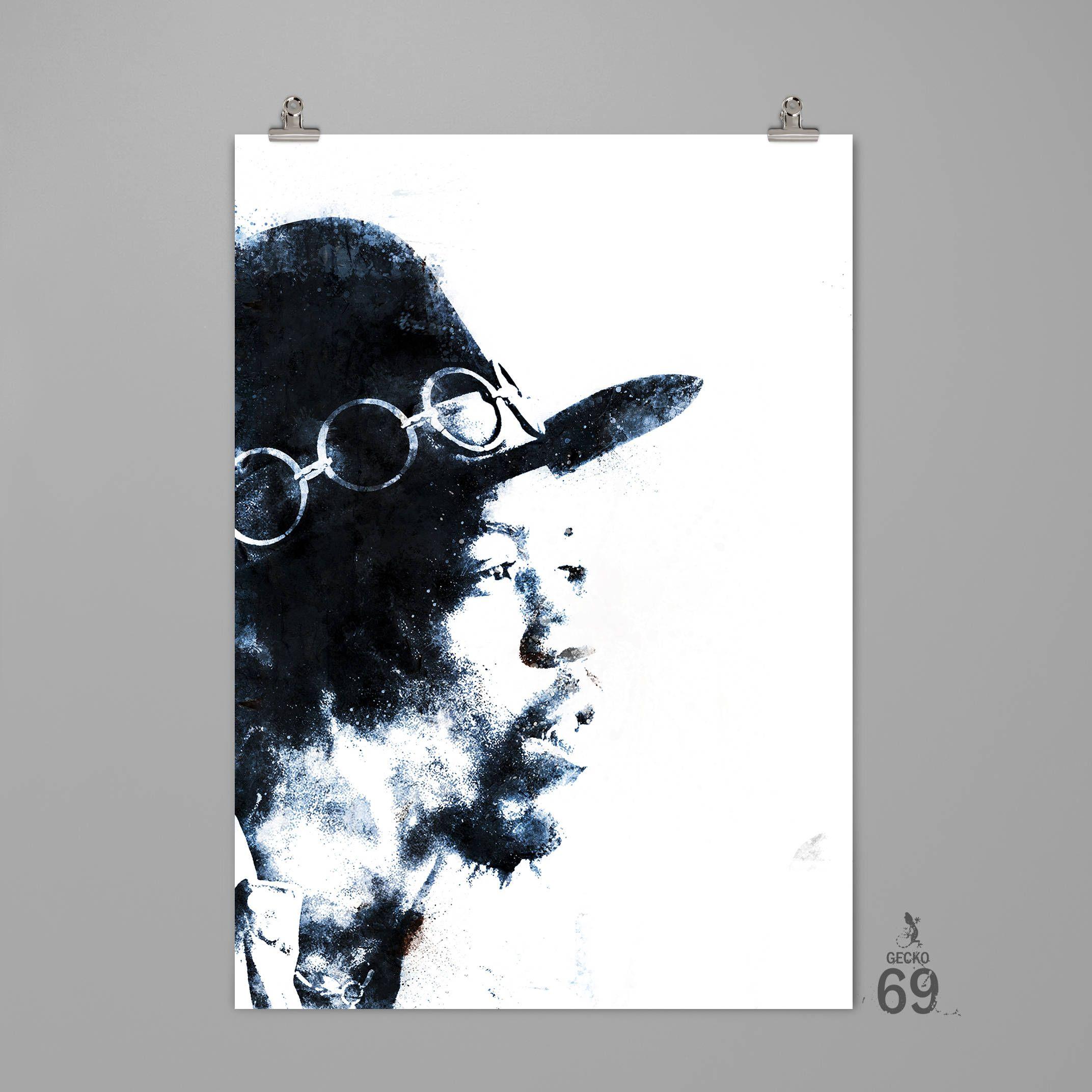 Jimi Hendrix art print Musician wall decor