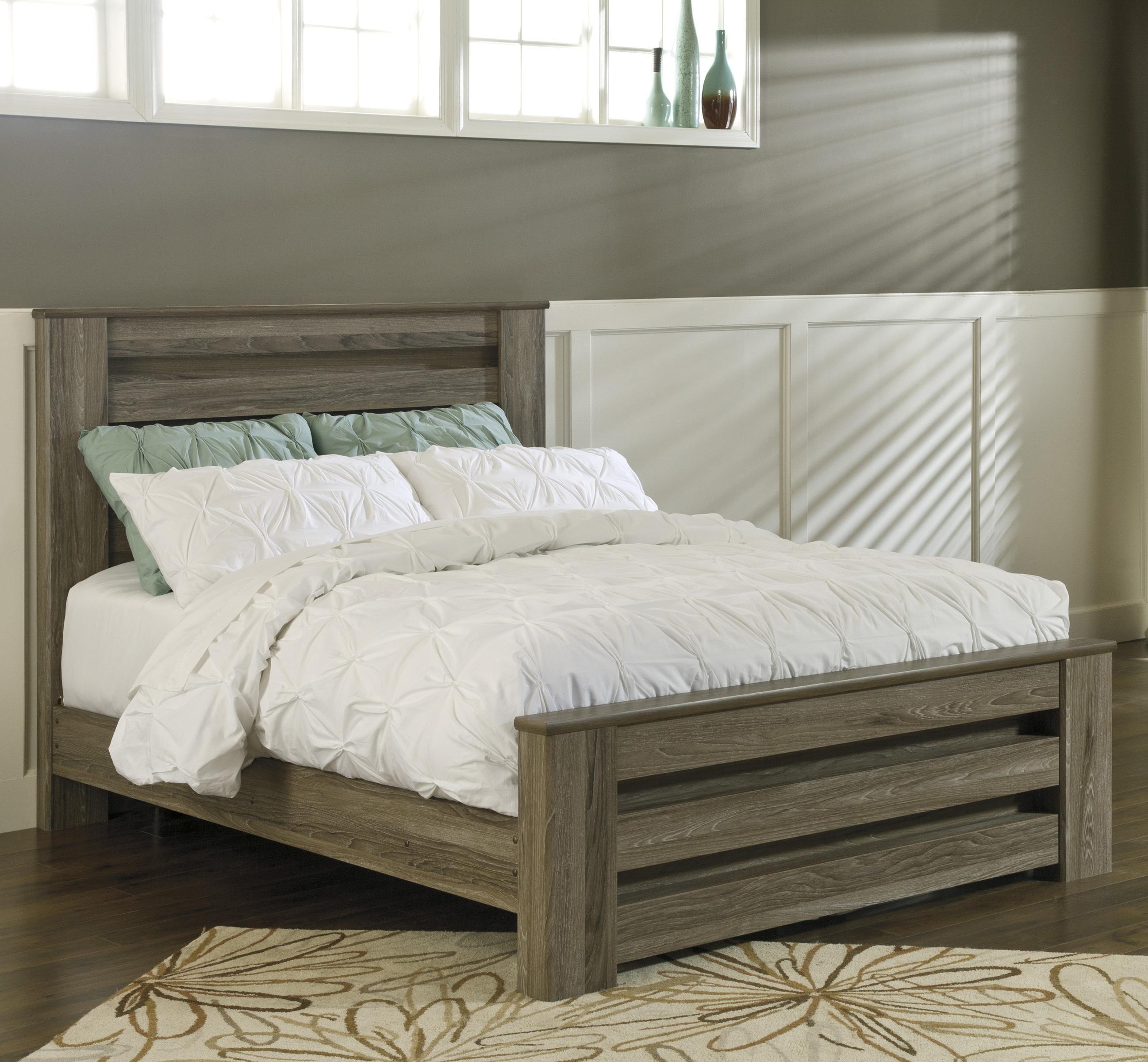 zelen queen poster bed in warm gray rustic finish by signature rh pinterest com