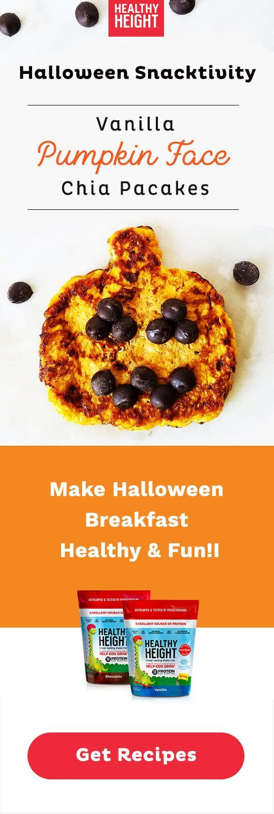 Halloween Pumpkin Pancakes for Kids | Healthy Height #halloweenbreakfastforkids Whip up these delicious, nutritious pumpkin pancakes with just 5 ingredients (plus chocolate chips for pumpkin face decorations). Turn it into a snacktivity for seasonal fun, or add to your Halloween breakfast for a healthy start to the day. This recipe gets your kiddo involved in the Halloween fun and teaches them good nutrition! Try these vanilla pumpkin chia pancakes created by Hannah, mom behind @hannahfromcalifo #halloweenbreakfastforkids