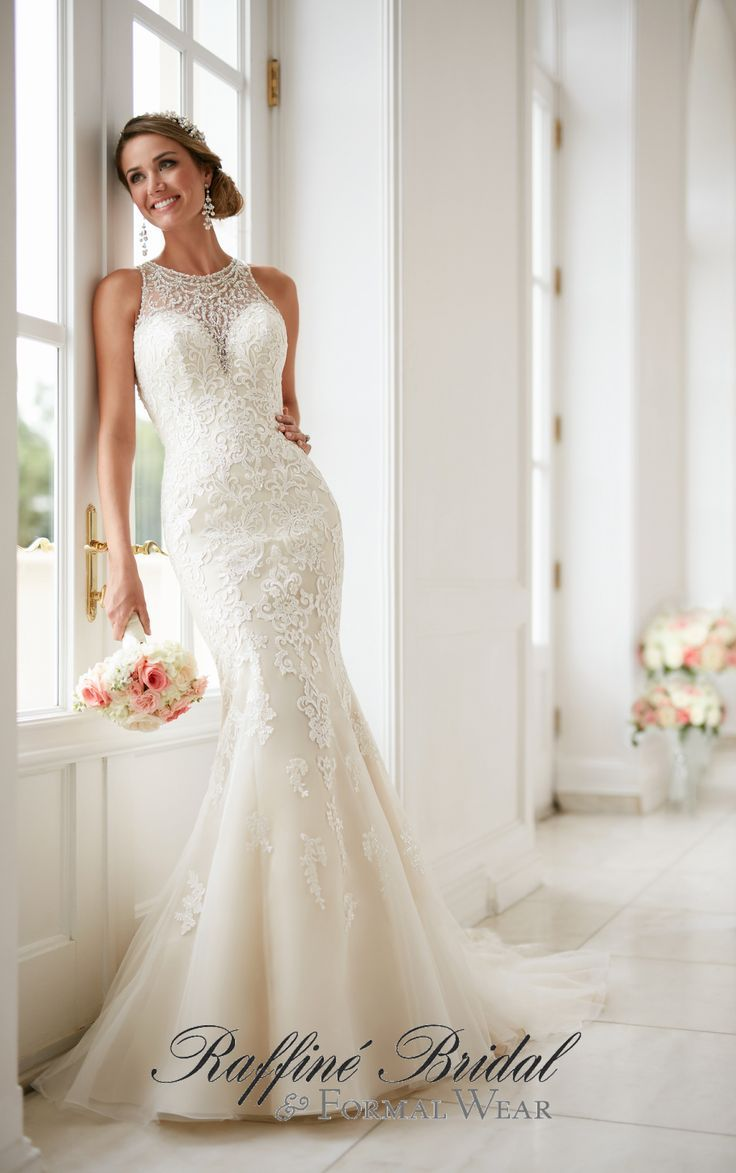 Beaded back wedding dress  Stella York   This elegant high neck wedding dress with lace