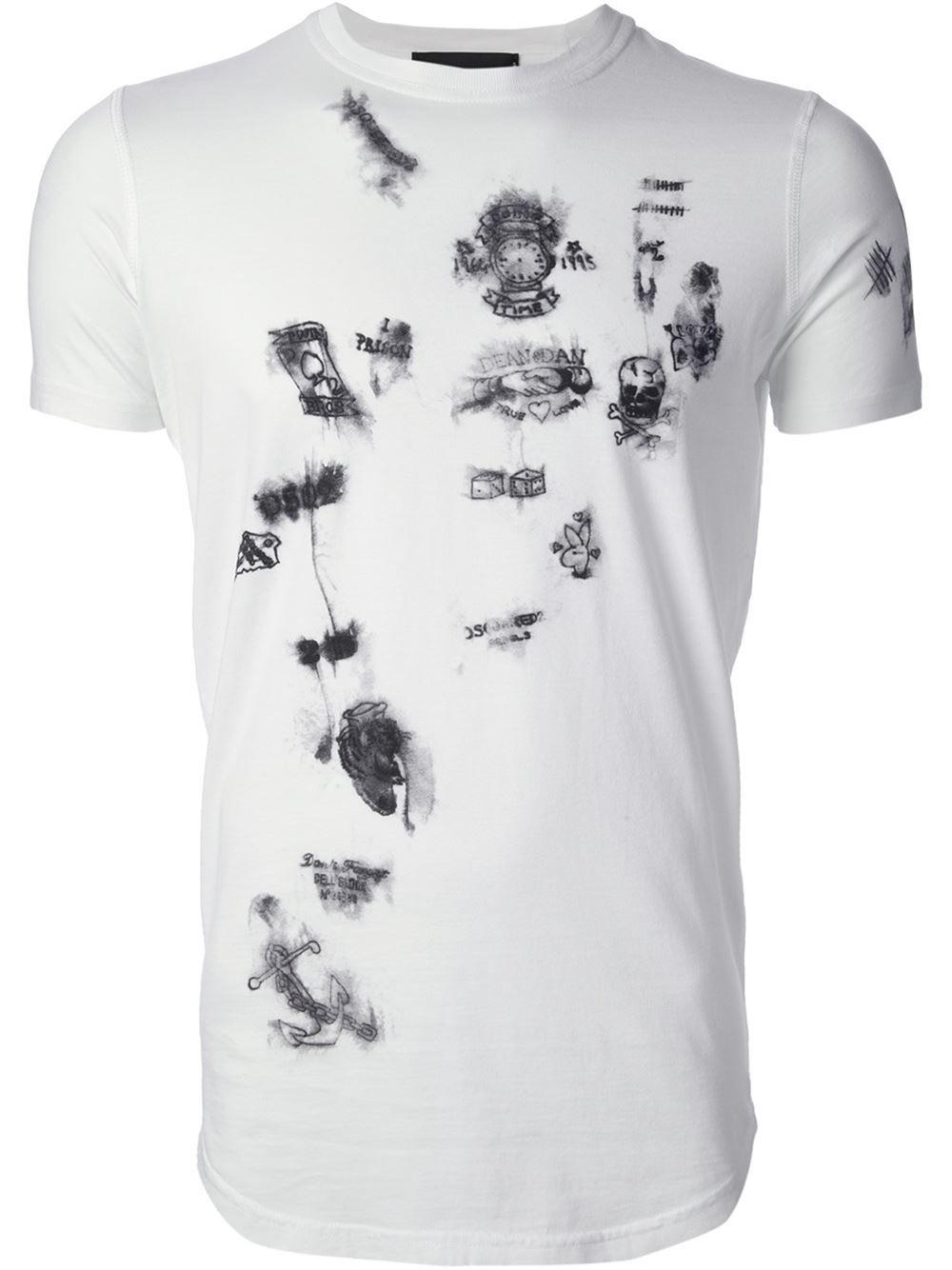 1c7811786a7 Dsquared2 Jail Graffiti Print T-shirt - Janes - Farfetch.com ...