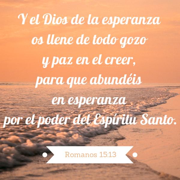 Versiculos De La Biblia De Animo: Y El Dios De La Esperanza Os Llene De Todo Gozo Y Paz En