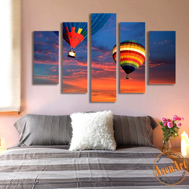 5 panel canvas art hot air balloon painting for living room wall