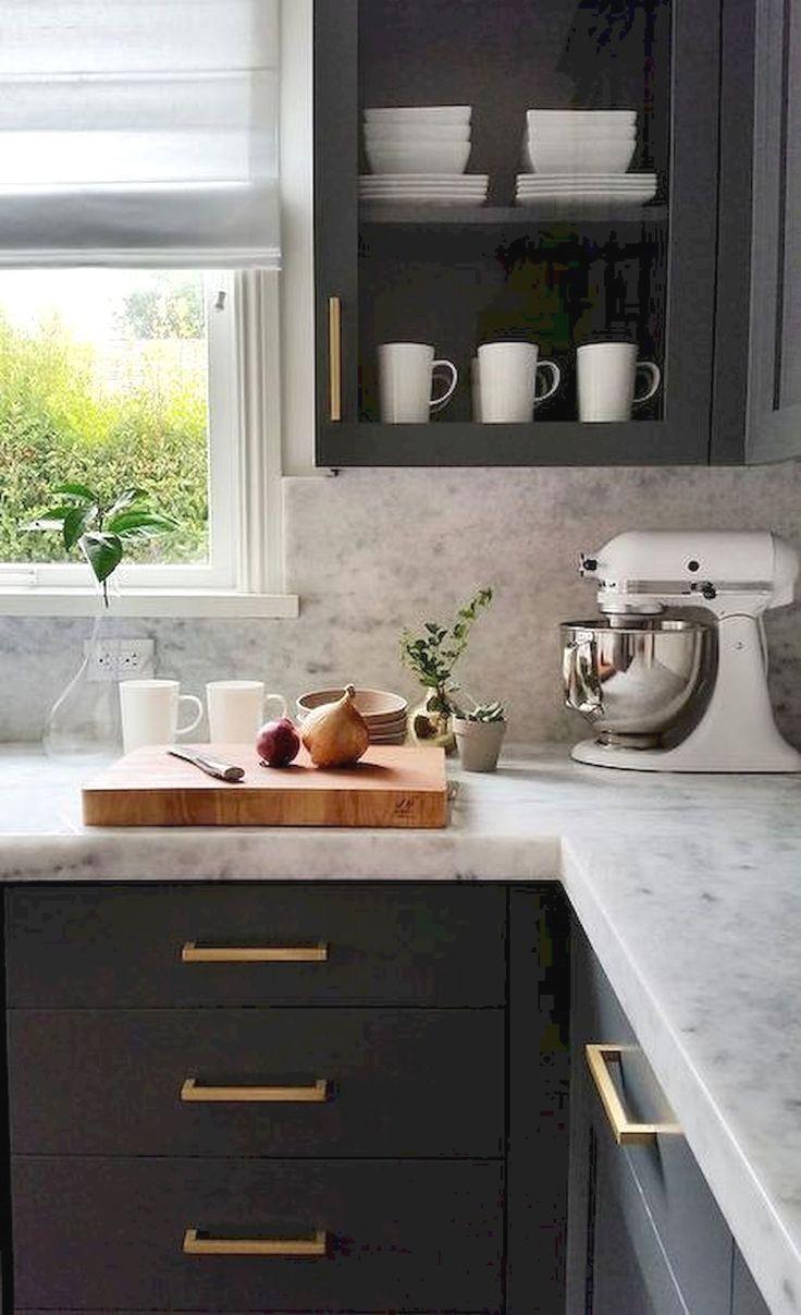 modern farmhouse kitchen with navy kitchen cabinets, dark gray ...
