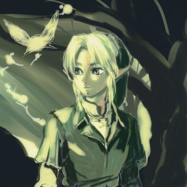 Nice unicolor drawing of Link and fairies, by unknown artist