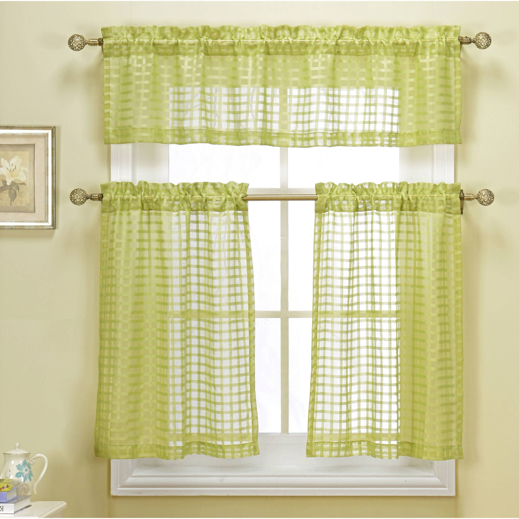 Cleo Check Faux Linen Kitchen Curtain Walmart Com Kitchen Curtain Sets White Paneling Kitchen Curtains