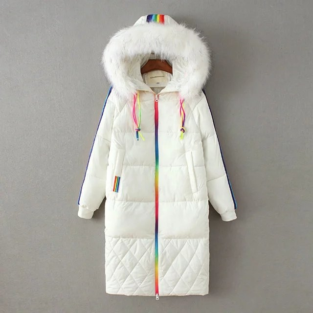 53.85$  Buy now - http://aliex2.worldwells.pw/go.php?t=32767527315 - New Fashion Women Rainbow Striped White Down Parkas Thick Warm Fur Hooded Collar Zippers Pockets Winter Casual Brand Outwear 53.85$