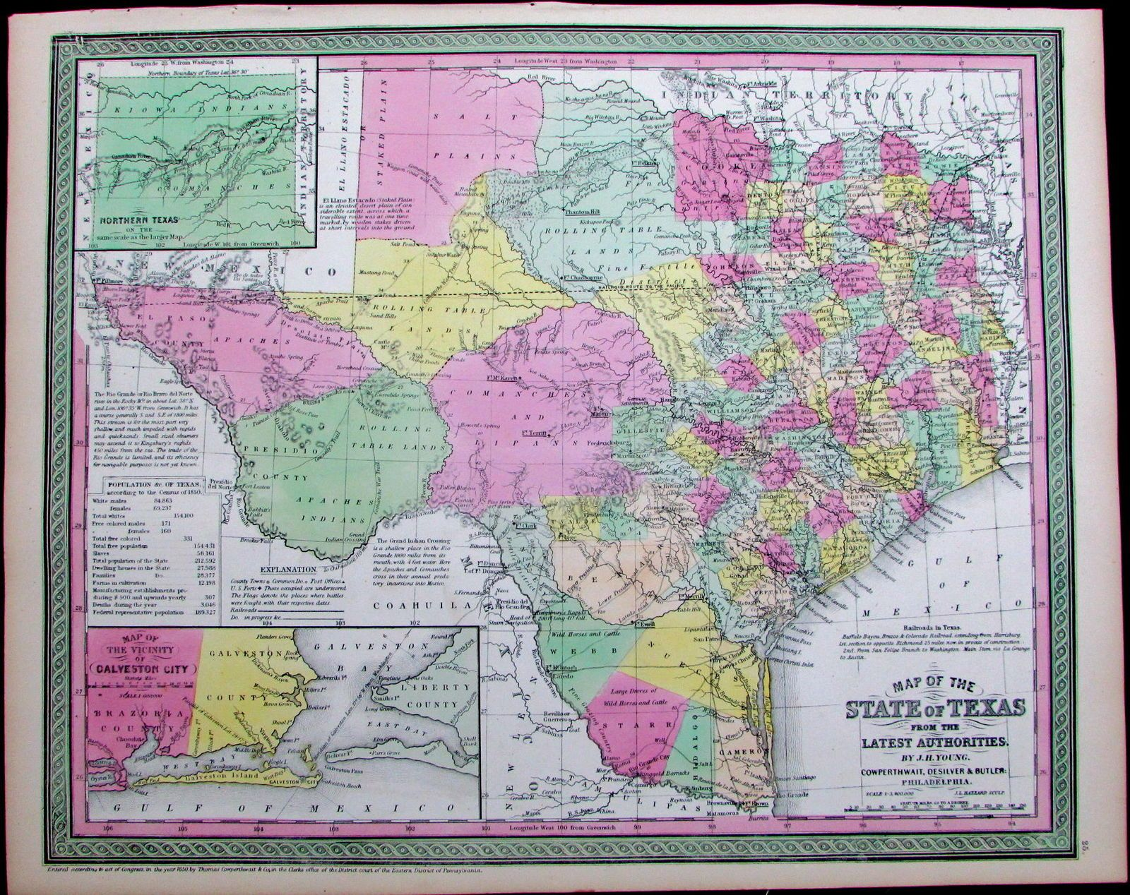 Map Usa States With Cities%0A Texas state map      Cowperthwait hand color scarce detailed map slaves  trails