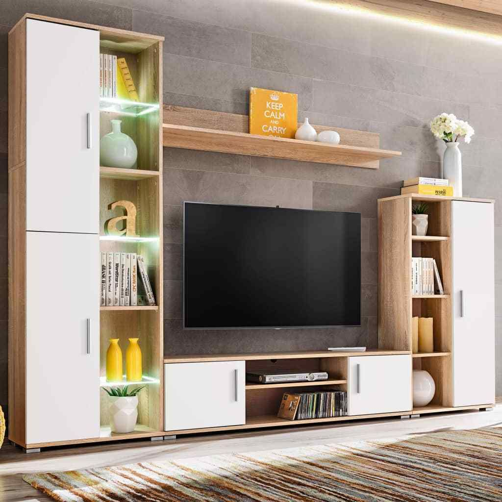 h4home modern tv wall unit with led lights sonoma oak and white in rh pinterest com