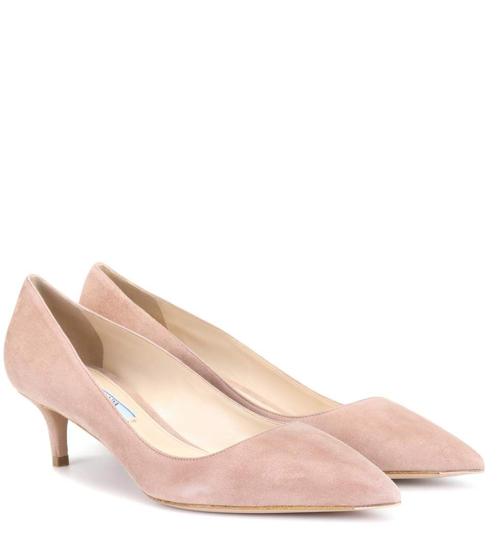 Prada Suede kitten-heel pumps