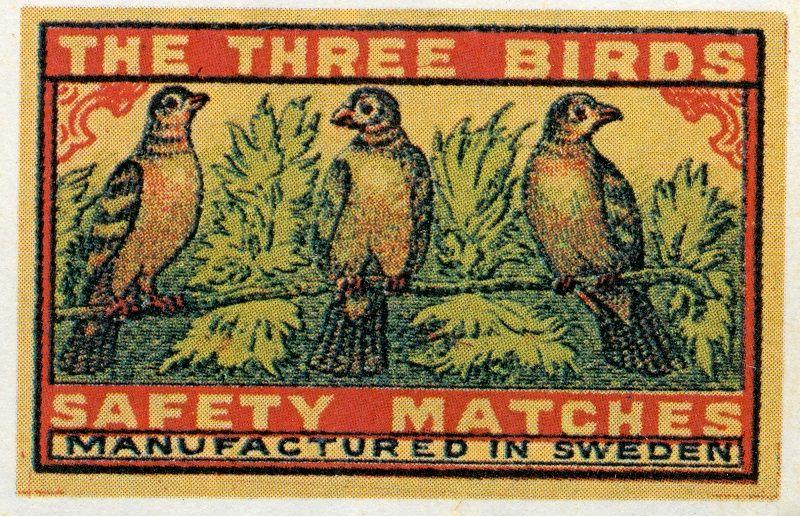 The Three Birds #Sweden #tulitikkuetiketit #etiketit #matchbox #labels