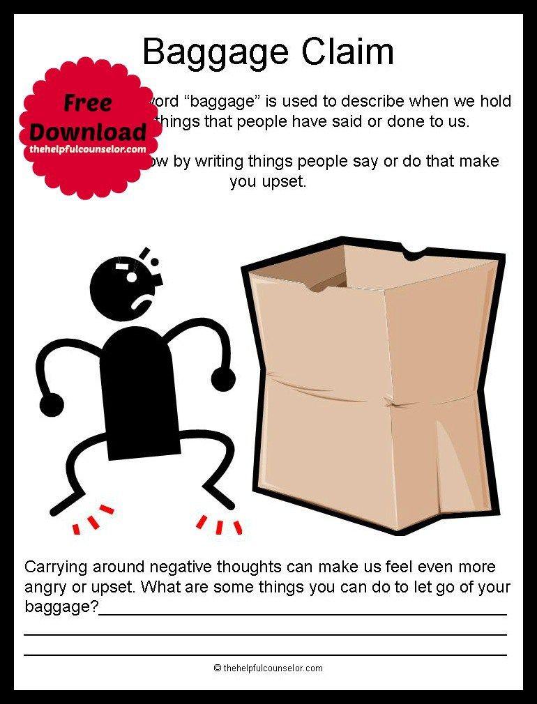 Emotional Baggage - Free Printable   Negative thoughts, Feelings ...