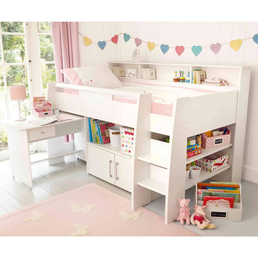 Reece cabin bed white childrens cabin beds beds for Futon for kids room