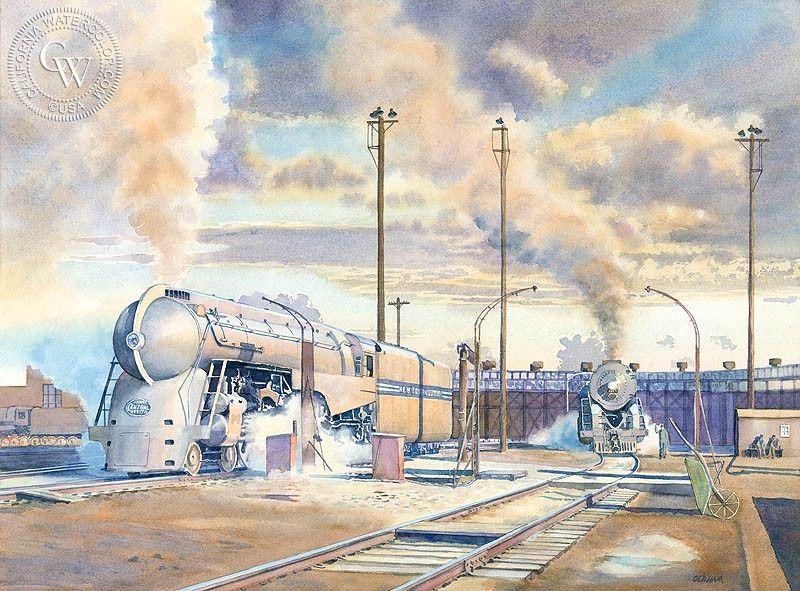 Hudsons at harmon railroad art train art california art