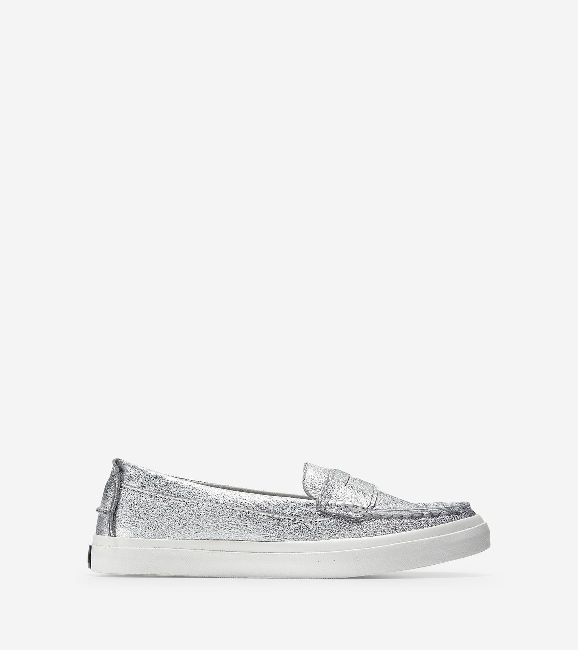 8b31bc381 Cole Haan Women's Pinch Weekender LX Loafer (Silver Soko Wash-Argento-Optic  White, 10.5 B)
