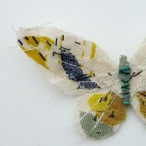 Fabric butterfly brooch- WHITE/YELLOW.  abigail brown $ 74