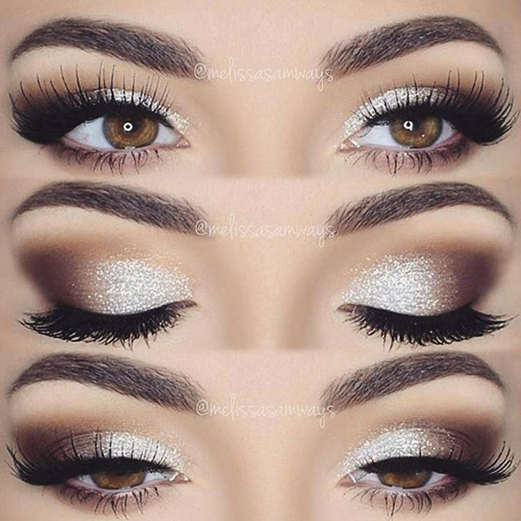 sparkly champagne smokey eye @melissasamways - love how there is no liner overpowering the sihmmer! #neutral soft glam makeup