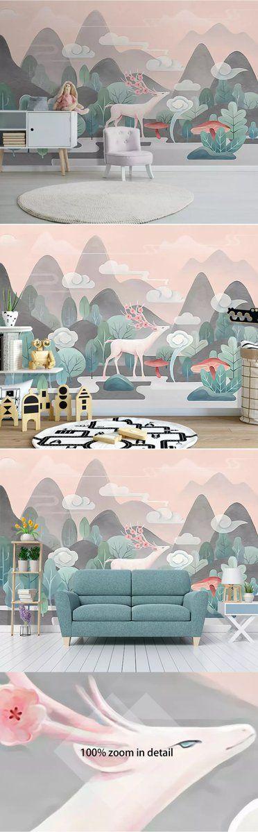 hand drawn cartoon mountain forest elk wallpaper wallpaper rh pinterest com