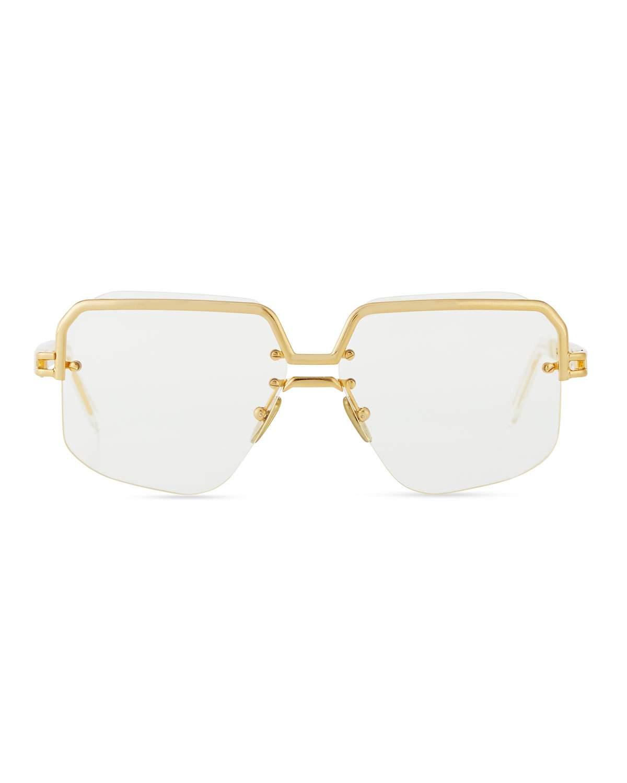 0d8c1925255 Celine Rectangle Semi-Rimless Metal Sunglasses