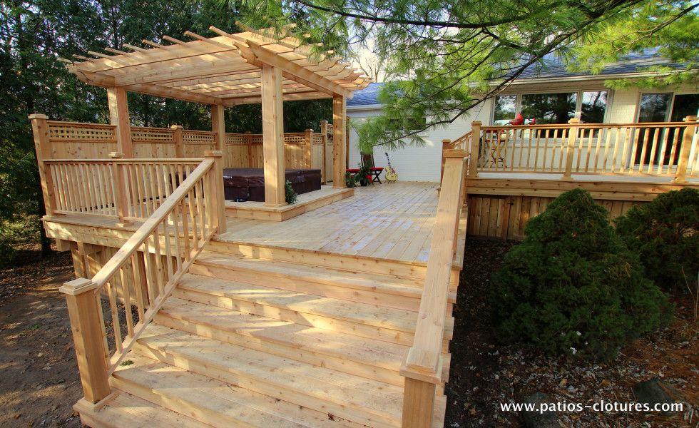 patio avec pergola au dessus du spa dufresne 3 terrasse gite pinterest terrasses. Black Bedroom Furniture Sets. Home Design Ideas