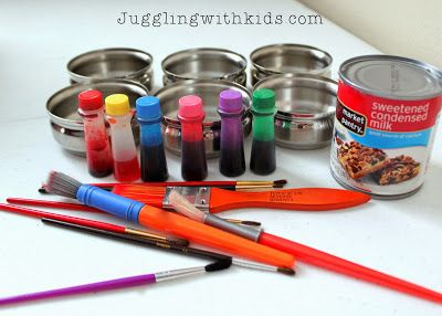 Juggling With Kids: Painting with Condensed Milk