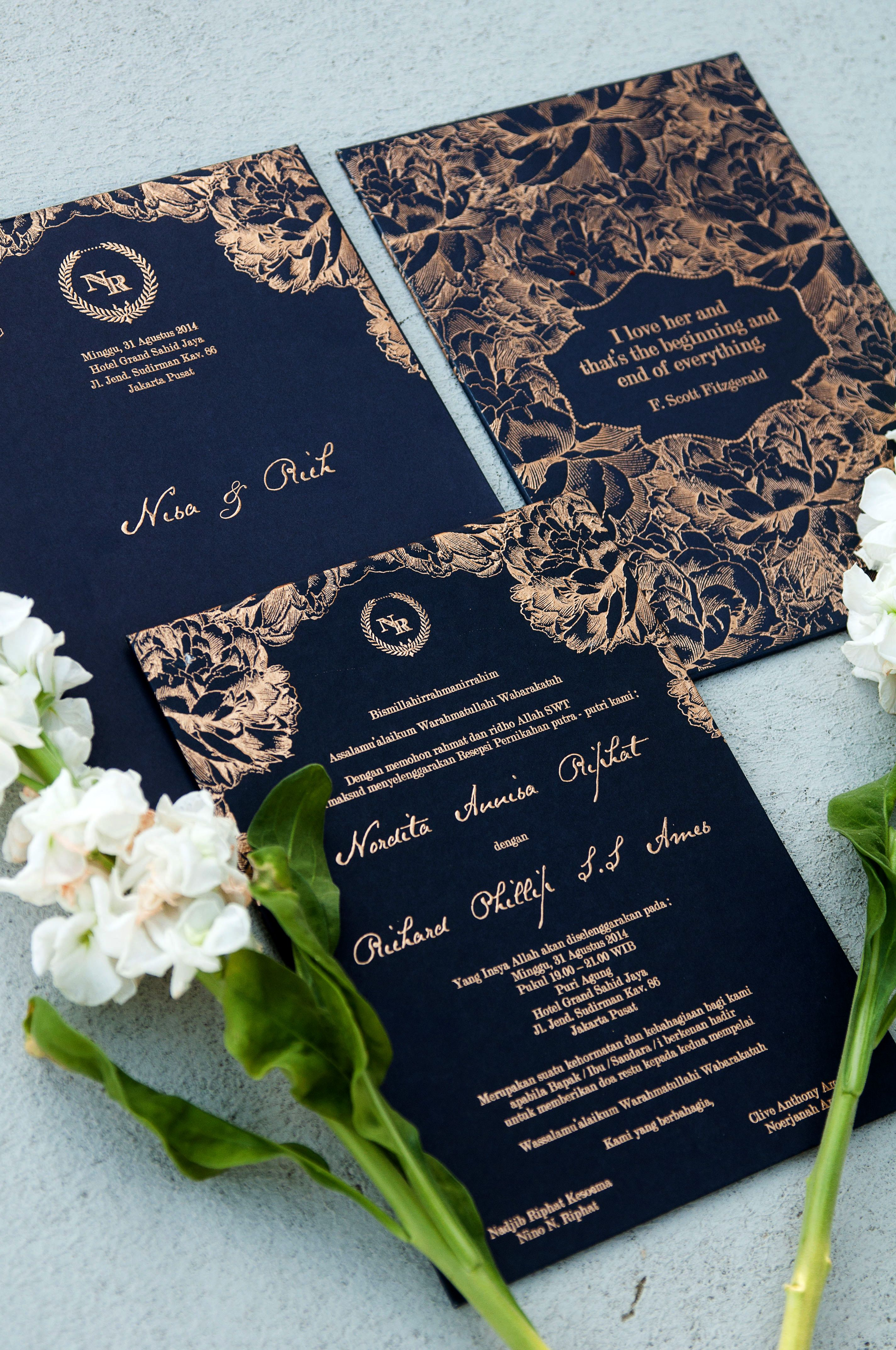 destination wedding invitation rsvp date%0A Wedding invitation in royal blue  www thebridedept com
