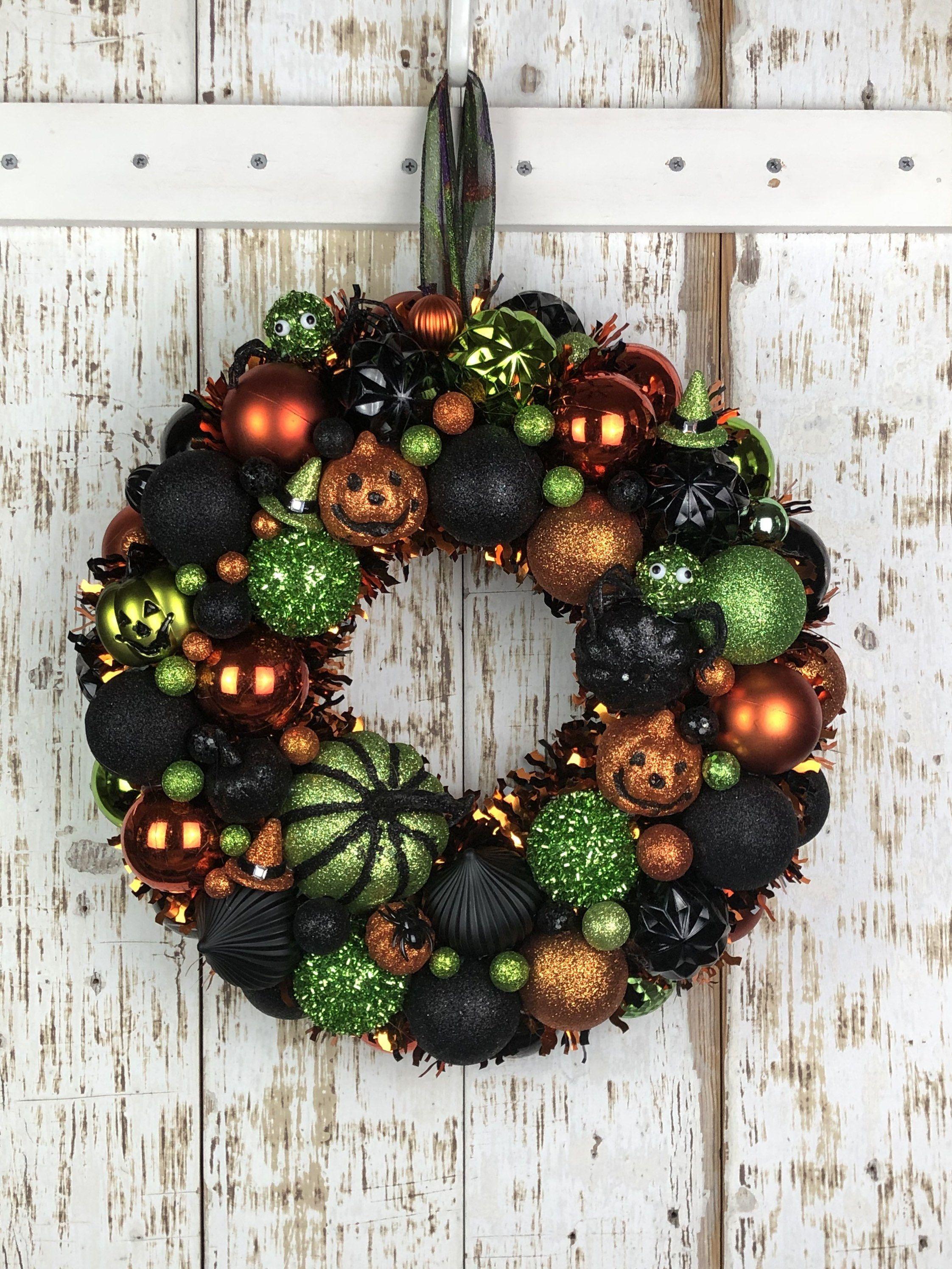 Green Orange And Black Halloween Wreath Halloween Etsy Black Halloween Wreath Halloween Ornament Wreath Diy Halloween Wreath