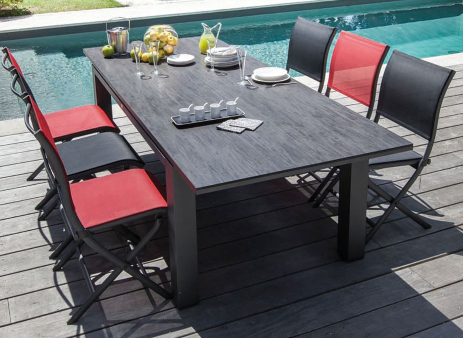 Table de jardin flo 180 240 cm plateau hpl oc o for Table exterieur hpl