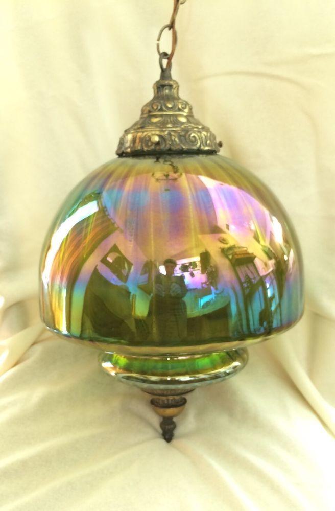 Vintage Retro Green Carnival Glass Globe Hanging Swag Light Lamp 60 S 70 S Carnival Glass Swag Light Glass Globe