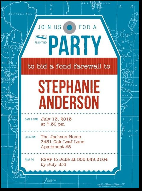 fond farewell party invitations in luxe turquoise or smoke