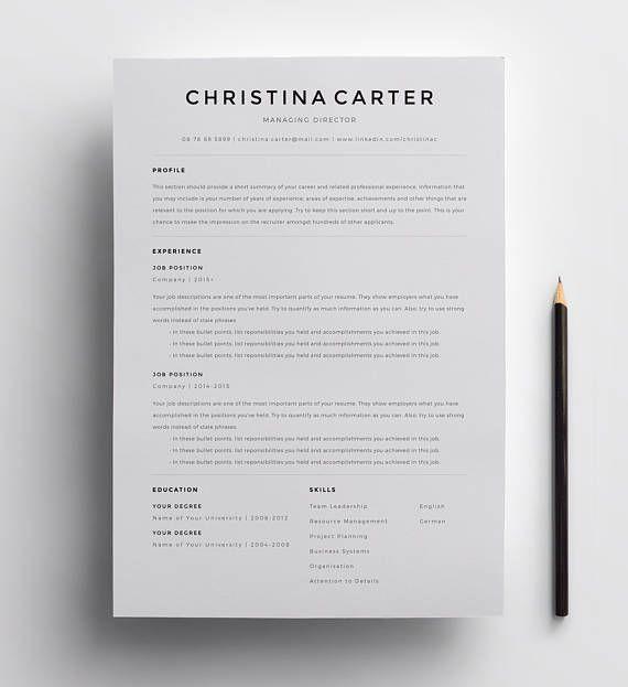 Creative Resume Template Minimalist Resume Resume Modern CV - minimalist resume template