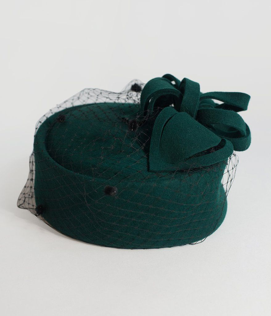 0c6449b8eb68 Unique Vintage Emerald Green Wool Netted Pillbox Hat Green Wool
