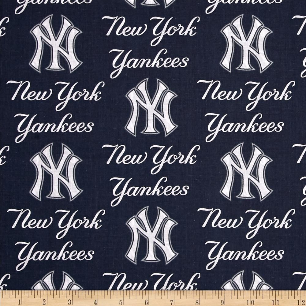 Mlb Cotton Broadcloth New York Yankees Blue New York Yankees Baseball Fabric New York Yankees Baseball
