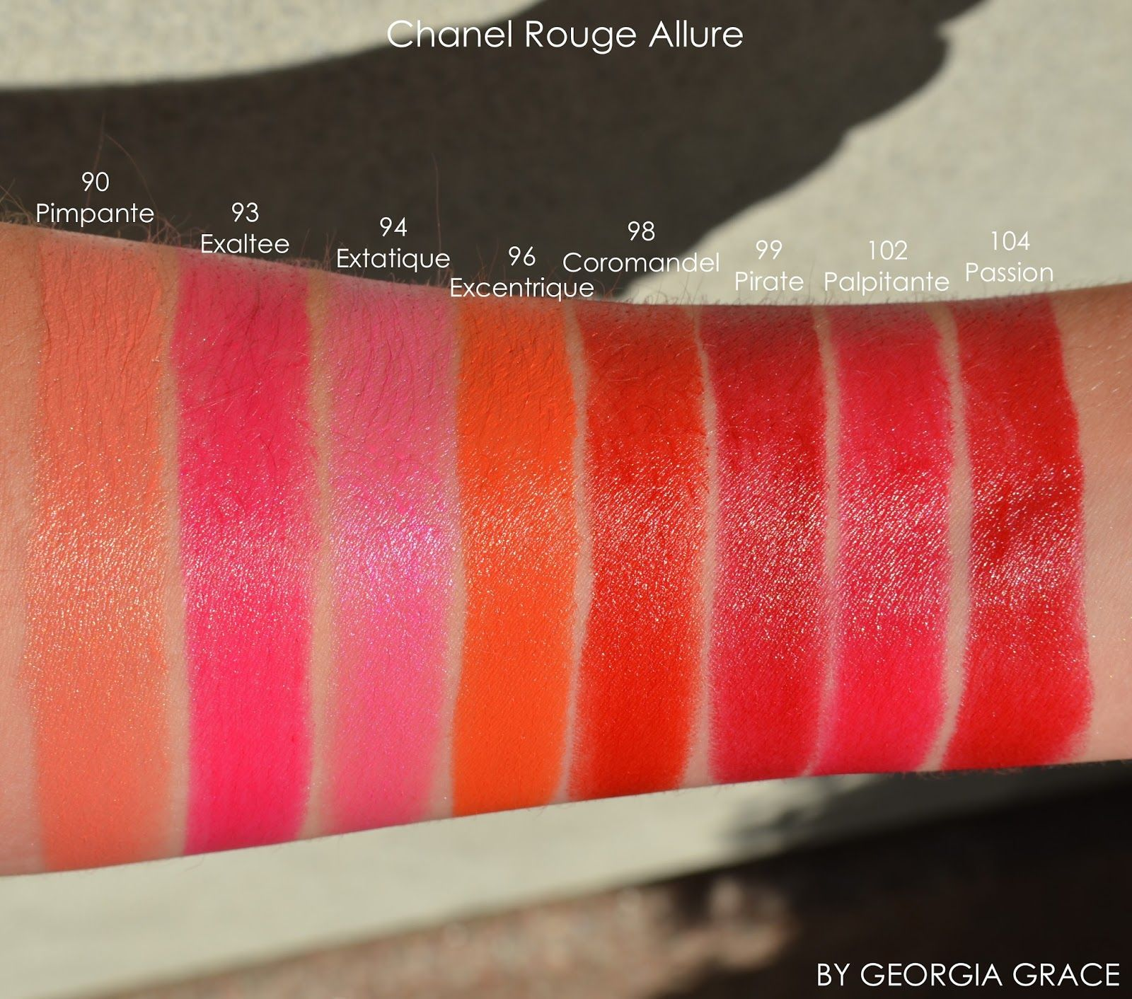 Chanel Rouge Allure Swatches of All Shades
